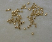 100 3mm Gold Plated Brass Round Spacer Balls Findings (543)