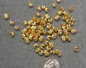 100 4mm Gold Plated Crimp Cover Findings (655)