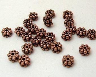 2 Dozen Double Spacer Oxidized Copper 7mm x 4mm Findings (544)