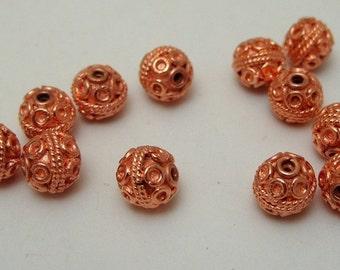 Dozen Bright Copper Bali Style 8mm Metal Beads Findings (560)