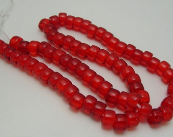 9mm x 6mm Strand Jablonex Pressed Glass Roller Crow Pony Bead in Lt Red  (100)