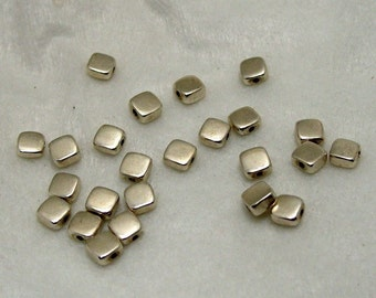 2 dozen 5mm x 5mm x 3mm Square Silver Plated over Brass Findings Spacers (524)