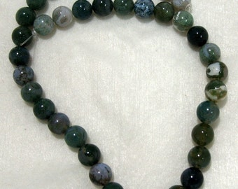 Full Strand of 10mm Moss Agate Gemstones (192)