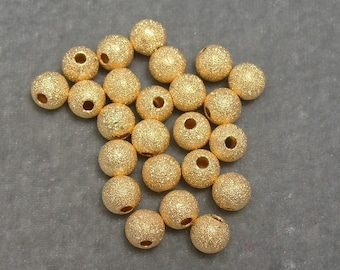 2 Dozen 8mm Stardust Sparkle Spacer in Gold Plated Findings (617)