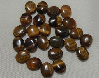25 14mm X 12mm Tigereye Oval Gemstones (172)