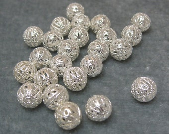 2 dozen 10mm Filigree Silver Plated Spacer Ball Finding (575)