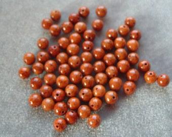 Full Strand of 6mm Fossil Bead Gemstones  (37)