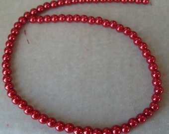 Full Strand of 6mm Red Glass Pearls (318)