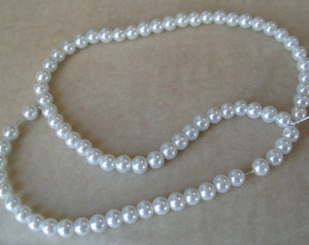 Full Strand of 6mm White Glass Pearls (319)