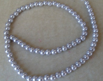 Full Strand of 6mm Pearl Grey Glass Pearls (321)