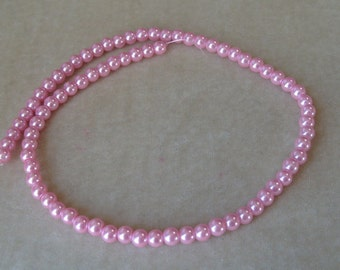 Full Strand of 6mm Pink Glass Pearls (323)