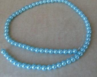 Full Strand of 6mm Aqua Glass Pearls (324)