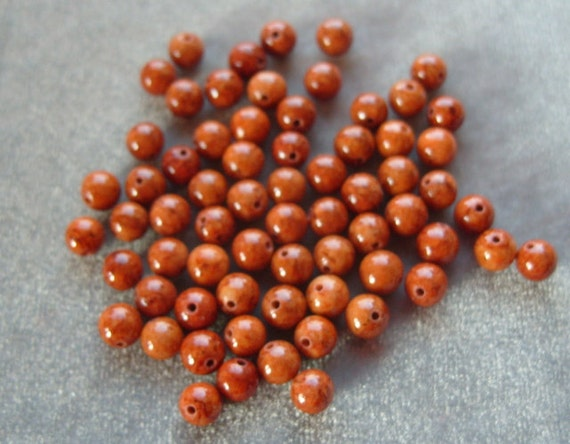 Full Strand of 6mm Fossil Bead Gemstones  (37)