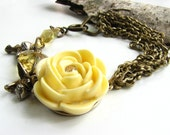 Yellow Rose Bracelet,  Lemon Vintage Crystal, Floral Jewelry, Antiqued Brass Chain