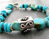 CIJ Free Shipping Turquoise Onyx Bracelet, Turquoise Nuggets, Black Onyx and Sterling Silver, Rustic Organic Jewelry