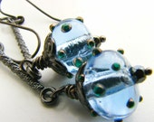 Bumpy Blue Betty Earrings, Lampwork Glass and Gunmetal