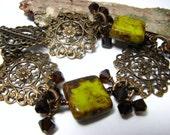 Rustic Green Bracelet, Mossy Green Glass, Swarovski, Brass Chain and Vintage Style Filigree Bracelet, Rustic Jewelry