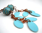 Turquoise, Copper and Enamel Earrings, Copper, Turquoise Enameled Oval Drops, Chain, Turquoise Caged Beads, Retro