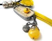 Yellow Dreams Necklace, Charm, Vintage Lucite Roses, Buttons, Czech Glass, Leather, Reversible