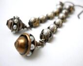 SALE Bridal Pearl Earrings, Brass Pearl Rhinestone Chain, Vintage Style Pearl beads, Victorian, Wedding Jewelry, Dangle