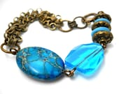 Aqua and Brass Bracelet, Imperial Jasper, Deep Water Crystal, Antiqued Brass Chain, Lampwork, Rustic Jewelry