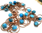 Copper Blues Necklace, Caribbean Turquoise Blue Agate, Copper Circles Chain