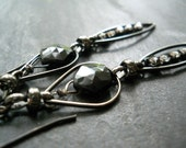 Black Mystic Earrings, Black Spinel, Rhinestone, Sterling Silver and Gunmetal