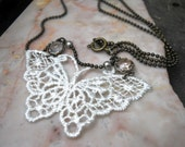 Lace Butterfly Necklace, Lace Applique Butterfly, Crystal and Brass, Victorian Inspired, Vintage Style