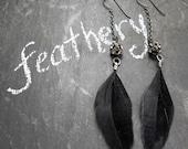 Black Feather Earrings, Rhinestone Beads, Gunmetal Chain, Midnight Black Feathers, Boho Chic Jewelry