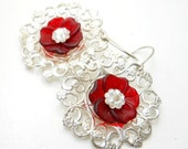 Red and Silver Flower Earrings, Silver filigree, Red Lucite and Swarovski Crystal, Romantic, Boho Jewelry