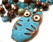 Ceramic Owl and Gemstone Necklace, Multi Colored Jasper, Aqua Blue Turqoise Rustic Ceramic Owl Pendant, Bird Fashion