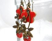 Red Flower Earrings, Elaine Ray Ceramic Beads and Brass Flower Drops, Bright Red, Floral Jewelry
