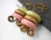 Pastel Ceramic and Brass Earrings, Elaine Ray Ceramic Washers and Coiled Antiqued Brass, Pastel Jewelry, Rustic Earrings, Spring Fashion