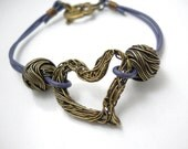 Rustic Heart Leather Bracelet, Woven Brass Heart, Amethyst Leather, Brass Twisted Wire Beads, Floral Rustic Jewelry