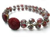 Beaded Wire Bracelet, Cranberry Glass, Brass Wire Wrapped Ruby Button Braided Bracelet, Bridesmaid Wedding Jewelry