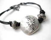 Silver Rustic Bracelet, Ant. Silver Toned Floral Button, Textured Beads, Black Leather Bracelet, Minimalist Jewelry