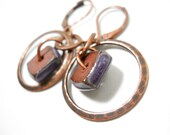 SALE Rustic Ceramic Copper Earrings, Squares, Elaine Ray Purple Ceramic Washers, featured in Belle Armoire Jewelry, Boho