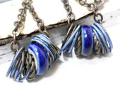 Blue Enamel and Ceramic Earrings, Elaine Ray Wheels, Enameled Brass, Cobalt Blue, Rustic Jewelry, Boho Fashion
