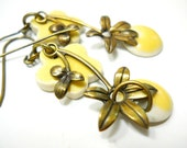 Lemon Yellow Flower Ceramic Earrings, Elaine Ray Beads with Brass Flower Drops, Pastel Fashion, Floral Jewelry