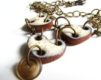 Valentine Ceramic Hearts and Brass Necklace, Elaine Ray Ceramic, Lampwork Glass, Chained Hearts Necklace