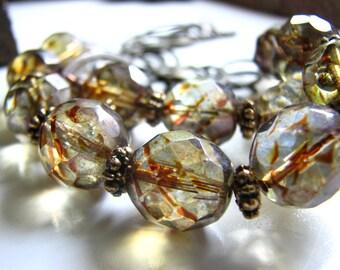 Glass and Brass Smokey Links Necklace