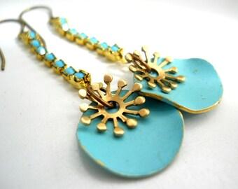 Turquoise Earrings, Wavy Enameld Discs, Brass Spokes, Turquoise Rhinestone Chain, Western Jewelry, Southwestern, Boho