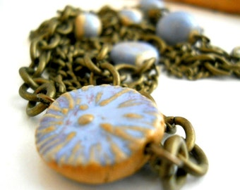Blue Ceramic Necklace, Brass Chain and Elaine Ray Ceramic Beads and Disc, Ocean Blue, Antiqued Brass