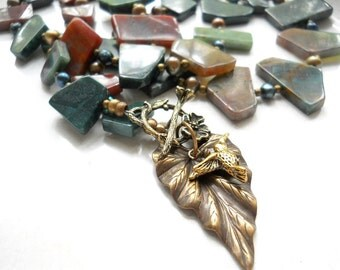 Woodland Necklace, Natural Jasper, Pearls, Brass Leaf, Hummingbird charm