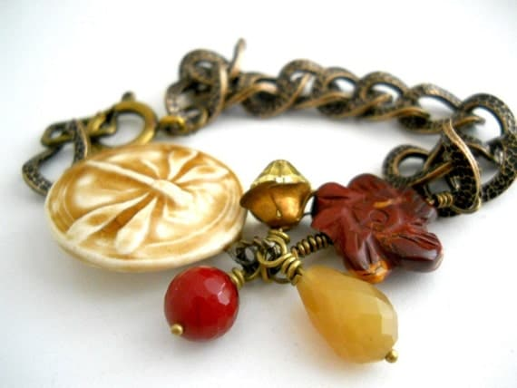 Dragonfly and Cranberries Bracelet, Ceramic Honey Glazed Dragonfly Focal, Ruby Magenta Quartz, Agate Carved Flower, Honey Jasper Teardrop, Crystal and Textured Antiqued Brass Chain
