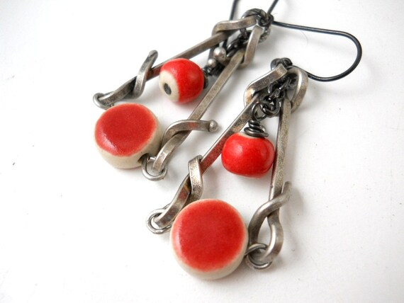 Red Ceramic Antiqued Silver Earrings, Elaine Ray Ceramic, Twisted Links, Industrial, As Seen in Belle Armoire Jewelry