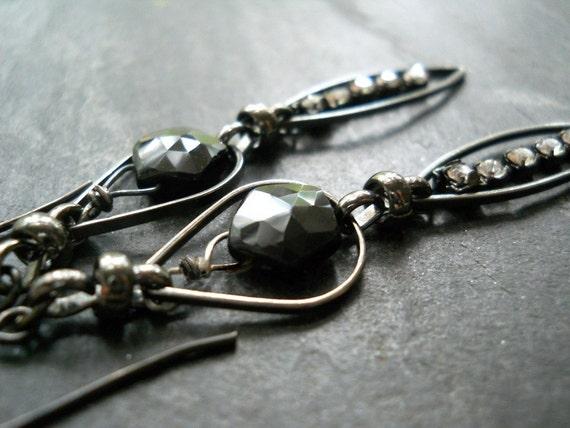 Black Mystic Earrings, Black Spinel, Rhinestone, Sterling Silver and Gunmetal