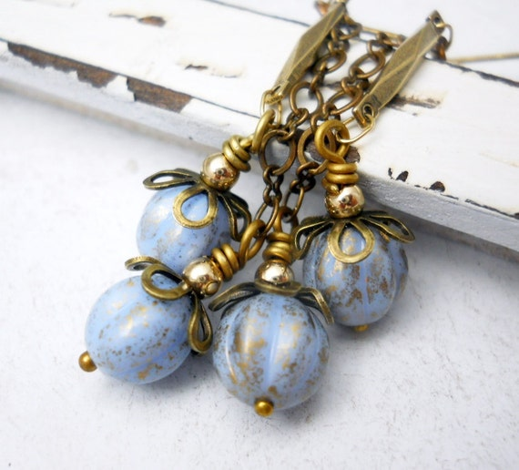 Ice Blue Earrings, Czech Glass, Antiqued Brass, Vintage Style Chain, Gold Filled Beads