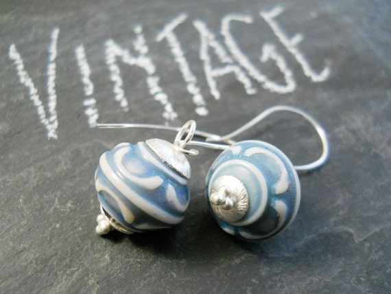 Silver Vintage Earrings, Sterling Silver, Blue White Etched Lucite Beads, Brushed Silver Caps, Bridal Wedding Jewelry