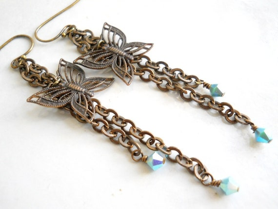 Butterfly Earrings, Turquoise Crystal and Antiqued Brass